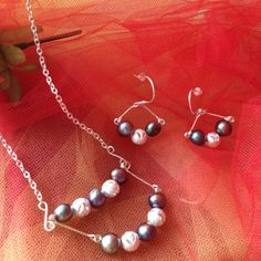 Black River Pearls and Plated Silver Necklace and Earrings set by OjosDelSol on Etsy