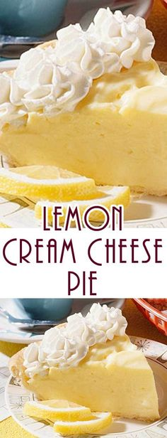 This Lemon Cream Cheese Pie recipe is so easy to make – even if you think your pie challenged. And the lemon filling just says that spring is here! cheese desserts for cream cheese for two cream cheese Lemon Desserts, Lemon Recipes, Köstliche Desserts, Pie Recipes, Delicious Desserts, Dessert Recipes, Recipies, Lemon Cakes, Plated Desserts