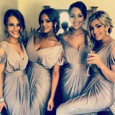 Wholesale Evening Dresses - Buy Loose Plus Size Sexy Silver V-Neck Short Sleeve Ruffle With Sash Sheath/Column Floor-Length Bridesmaid Dress Glamorous Lady's Leisure Wear, $99.79   DHgate