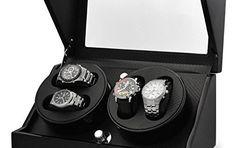 Klarstein CA2PM Remontoir de luxe pour 4 montres (4 programmes différents) – optique carbone: La fonction de base de ce coffret à montres…