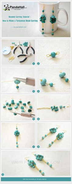 Beaded Earring Tutorial - How to Make Long and Clustered Turquoise Bead Earrings