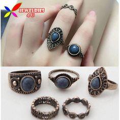 Vintage Ring Sets Fashion Designer Antique Alloy Nature Blue Stone 5pcs Midi…