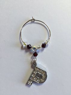 Letter 'P' Wine Glass Charm - with Swarovski Crystals - birthstone gift idea by Makewithlovecrafts on Etsy