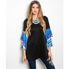 Take Me Dancing Blue and Orange Ruffle Sleeve Top - Size Small