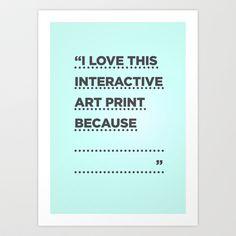Interactive art print #love Art Print by Samu Parra - $16.00