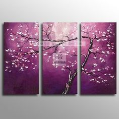 Modern purple flower Huge Wall Art Oil Painting flower(no framed)-in Painting & Calligraphy from Home & Garden on Aliexpress.com