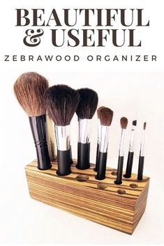 Make up organizer has both utility and beauty in equal parts. This pretty holder stores items like tweezers, bobby pins, nail files, manicure scissors, as well as makeup and brushes. All your frequently used items are separated vertically, at your fingertips on your vanity. Helps to eliminate duplicate purchases due to misplacing Items. This African wood is heavy and dense with dark brown to narrow black streaks.