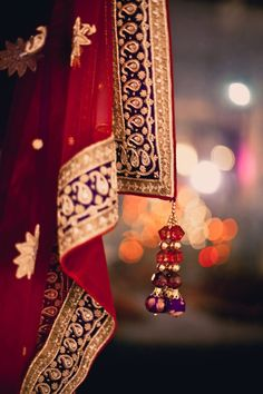 Red net or chiffon with a stunning blue border edged with gold tissue. The border is heavily embroidered with little flower bhuttis and clear kundan stones surrounded by paisley zardosi work.