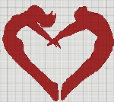 Couple heart x-stitch Crochet Diagram, Crochet Chart, Filet Crochet, Wedding Cross Stitch Patterns, Counted Cross Stitch Patterns, Cross Stitch Embroidery, Knitted Heart, Swedish Weaving, Cross Stitch Heart