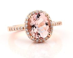BEAUTIFUL Natural Facet Cut Morganite  Solid 14K Rose Gold Diamond engagement Ring