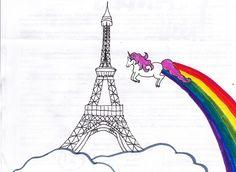 Eiffel tower with unicorn. By Rosalind.