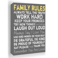 'Family Rules' Framed Wall Art.