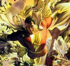 Captain Marvel in flight by Alex Ross
