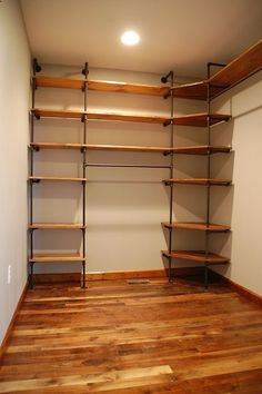 master closet - DIY closet organizer from pipes and pine shelves Closet Storage, Closet Organization, Organizing, Bedroom Storage, Garage Storage, Organization Ideas, Pipe Closet, Pine Shelves, Corner Shelves