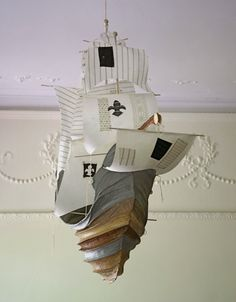 Ahhhhhhh-mazing!  I want this to hang over my son's bed for inspiration. #paper, boat, ship, pirate, sailing, kids room, playroom, mobile