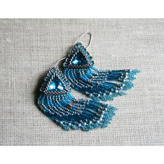 chandelier earrings, dangle earrings, statement earrings, beadwoven... (€54) ❤ liked on Polyvore featuring jewelry, earrings, beaded jewelry, earring jewelry, long chandelier earrings, fringe earrings and fringe jewelry