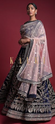 Buy Online from the link below. We ship worldwide (Free Shipping over US$100)  Click Anywhere to Tag Royal Blue Lehenga Choli In Velvet Hand Crafted In Zardozi Embroidered Floral Pattern Online - Kalki Fashion Royal blue lehenga choli in velvet hand crafted with zardozi and sequins embroidered floral kalidar pattern.Border and waist adorned with mirror work in chandelier pattern. Lehenga Reception, Royal Blue Lehenga, Wedding Function, Groom Wear, Mirror Work, Lehenga Choli, Indian Outfits, Gown, Outfit Ideas