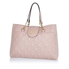 Light pink quilted chain strap tote bag $60.00