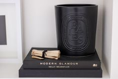 Shelf Vignette Diptyque Large Baies Candle Books Palo Santo Erica Cook