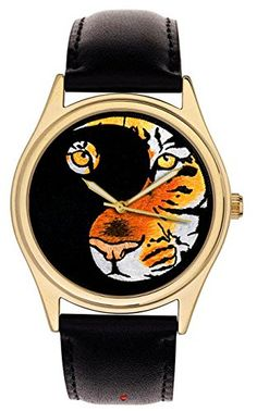 Gorgeous Yin Yang Dualism Symbolic TIGER Art 42 mm Collectible Wrist Watch. Heavy Brass, 24k Gold-Washed superbrass.com