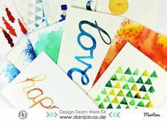 Brusho Einleitung von Martina für www.danipeuss.de #brusho #anleitung #mixedmedia #watercolor #diy #tutorial #scrapbooking