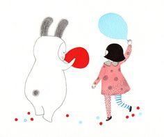 Red Balloon - Illustration - Kids wall decoration. $20,00, via Etsy.