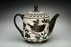 Bird-Small Teapot; porcelain and red underglaze, 8x8x5 in. $245.