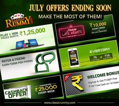 Don't miss out the fun and cash rewards at classic rummy! Grab them before they expire.   Check out all the offers @ https://www.classicrummy.com/all-promotions?link_name=CR-12    #rummy #classicrummyoffers #rummyoffers #classicrummy #onlinerummy #fun #cash #rummyrewards #rummypromotions