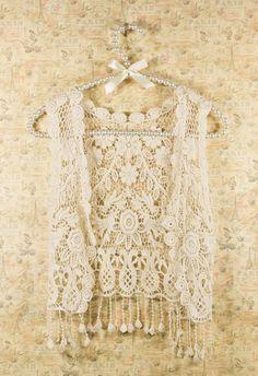 Vintage Crochet Vest #chicwish