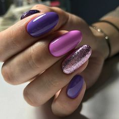 Nail art Christmas - the festive spirit on the nails. Over 70 creative ideas and tutorials - My Nails Perfect Nails, Gorgeous Nails, Pretty Nails, Purple Nail Designs, Nail Art Designs, Nail Polish, Nagel Gel, Purple Nails, Bright Gel Nails