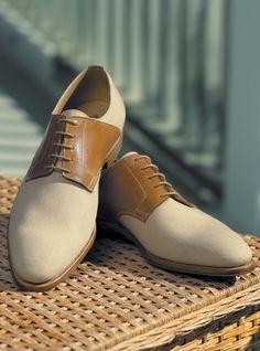 The Bosham Saddle Shoe in Beige Canvas