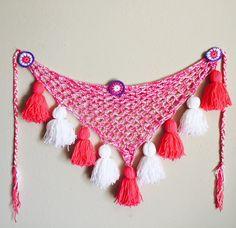 Pink and White Medallion Tassel Belt Hipscarf by ElenaLewisDesigns