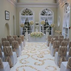 Hunton Park Orangery with white chiffon drapes and petal carpet Hunton Park, Park Hotel, Wedding Hire, Luxury Wedding, Wedding Venues, Wedding Decorations, Table Decorations, White Chiffon, Park Weddings