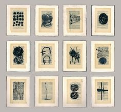Gwendolyn Plunkett New Language Grid - Booked Ink, old book pages, encaustic medium, oil bar on panel Abstract Drawings, Art Drawings, Art Connection, Conceptual Drawing, Mini Canvas Art, Black And White Painting, Encaustic Art, Mark Making, Box Art