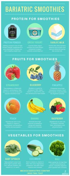 Bariatric Smoothies Recipes and Protein Shakes Infographic #recipes #wls #diet #fruit #protien #veggies