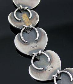 Hans Hansen Modernist Sterling Heart Necklace Denmark (item #1285440, detailed views)