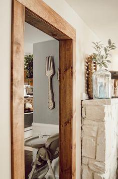 Doorway casing with With Wood Beam Look — Jessica Diana Schlichtman Door Frame Molding, Wood Door Frame, Wood Doors, Oak Door Frames, Wood Molding Trim, Moldings, Home Renovation, Home Remodeling, Stained Trim