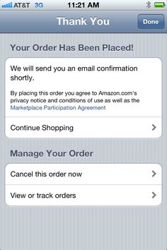 Amazon - Order Confirmation. The app provides a clear path to cancel an order if needed.