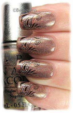 pink fingernail polish with black design on them - Nail Art by Belegwen #nail #nails #nailart