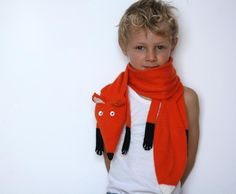 Fox scarf kids - Kids Red Fox scarf - children Fox knitted scarf - Knitted scarf - Child scarf - Knitted woman scarf - Knit scarf. €45.00, via Etsy.