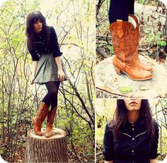 Western Button Up, Forever 21 Skirt, Black Tights, Capezio Cowboy Boots, Http://Www.Jaglever.Com