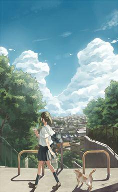 Why does everything in anime so pretty? Why can't we live in anime? Why can't anime be real? If they can make anime. Manga Anime, Manga Art, Anime Cat, Anime Comics, Desu Desu, Graphisches Design, Image Manga, Estilo Anime, Anime Artwork