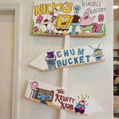 Spongebob Party Entrance Sign :) but use krusty krab, jelly fishing field, and bikini bottom!!