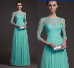 2014 New Light Blue Chiffon Bridesmaid Evening Formal Party Ball Gown Prom Dress
