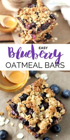 Easy Blueberry Oatmeal Bars Blueberry Oatmeal Bars are a nutritious and delicious recipe idea the whole family will gobble up. One bowl and one pan are all you need for these easy oatmeal bars bursting with fresh blueberries! Easy Oatmeal Bars, Blueberry Oatmeal Bars, Oatmeal Bars Healthy, Baked Oatmeal Recipes, Recipes With Oatmeal Breakfast, Healthy Oatmeal Cake Recipe, Homemade Breakfast Bars, Oatmeal Breakfast Muffins, Oatmeal Squares