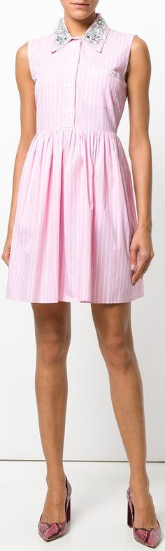 Embellished Pinstripe Shirt-Dress