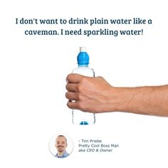 Tim thinks drinking normal water is something cavemen do. Share your favorite caveman GIF! Cool Boss, Oklahoma City, Online Marketing, Drinking, Social Media, Water, Gripe Water, Beverage, Drink