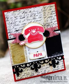 Papa by NinaB (Lilly Belle's Paperie Grenadine cardstock & Chevron Ribbon)