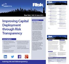 Improving Capital Deployment through Risk Transparency @ Downtown Conference Center New York on June 18 - 19, 2015 at 9:00 am - 5:00 pm. This course provides a framework and specific practices for enhancing risk transparency, risk culture and efficient deployment of capital. Category: Classes / Courses | Professional Training. Artists / Speakers: Sanjay Sharma (RBC Capital Markets). Prices: Standard Pricing: USD 2999, 2+ Group Booking Per Delegate: USD 1999. Inquiries: http://atnd.it/26645-1