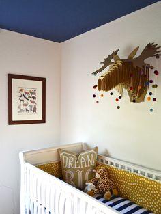 Project Nursery - Moosehead over Crib in this Whimsical Woodland Nursery